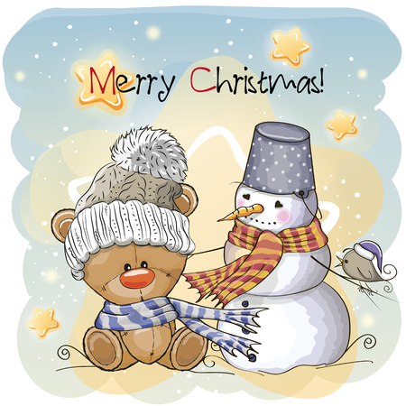 Ilustración de Greeting Christmas card Teddy, Snowman and bird - Imagen libre de derechos