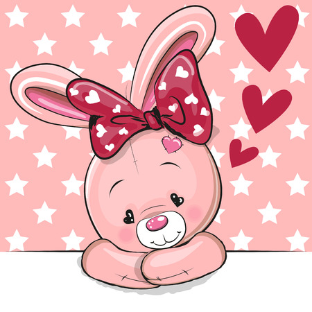 Illustration pour Cute Cartoon Rabbit with hearts on a pink background - image libre de droit