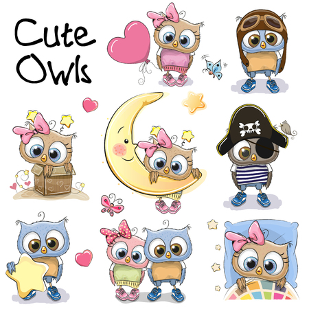 Ilustración de Set of Cute Cartoon Owls on a white background - Imagen libre de derechos