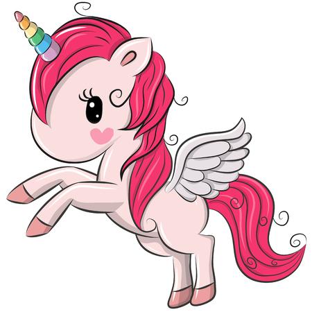 Ilustración de Cute Cartoon Unicorn isolated on a white background - Imagen libre de derechos