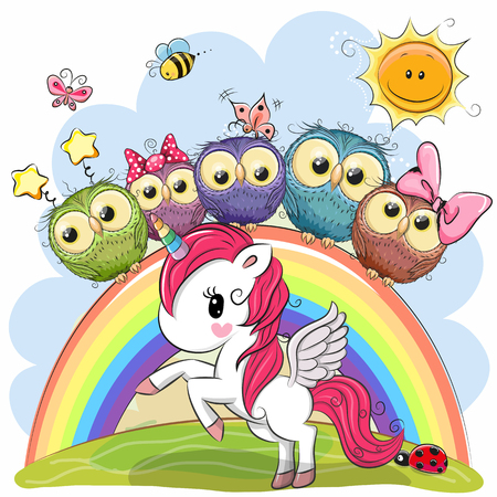 Photo pour Cartoon Unicorn and Five Cute Owls is sitting on a rainbow - image libre de droit