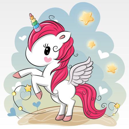 Ilustración de Cute Cartoon Unicorn on a Blue background - Imagen libre de derechos
