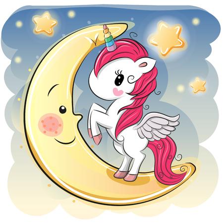 Illustrazione per Cute Cartoon Unicorn girl on the moon - Immagini Royalty Free