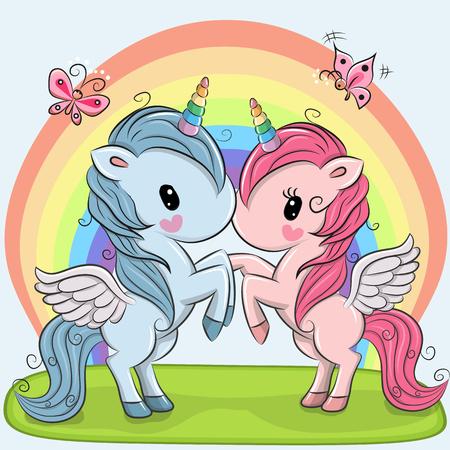 Illustration pour Two cute Unicorns on a rainbow background - image libre de droit