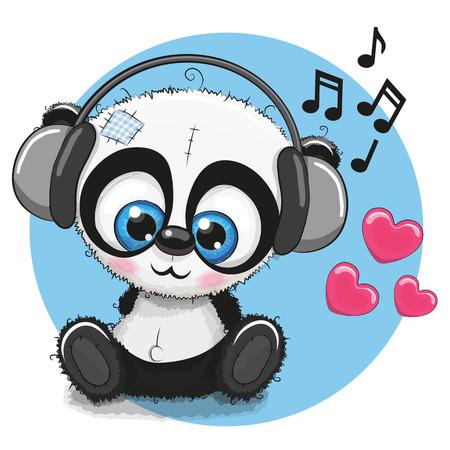 Illustration pour Cute cartoon Panda with headphones - image libre de droit