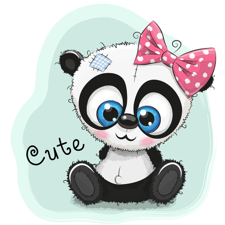 Illustration pour Cute Drawing Panda girl isolated on a blue background - image libre de droit