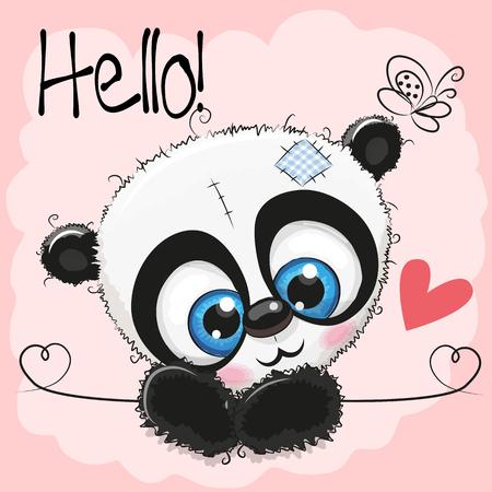 Illustration pour Cute Drawing Panda on a pink background - image libre de droit