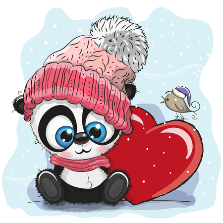Illustration pour Cute Cartoon Panda in a knitted cap and a heart - image libre de droit