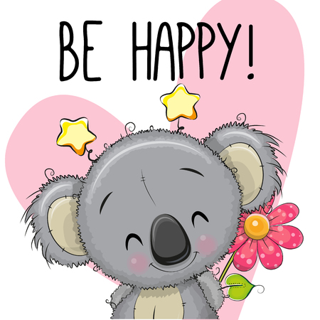 Illustration pour Be Happy Greeting card Koala with hearts and a flower - image libre de droit