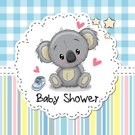 Illustration pour Baby Shower Greeting Card with cute Cartoon Koala boy - image libre de droit