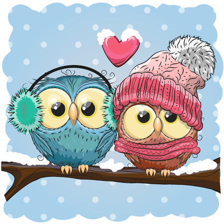 Illustration pour Two cute drawn Owls  sits on a branch in a snow - image libre de droit