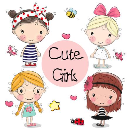 Illustration pour Four Cute cartoon girls on a white background - image libre de droit