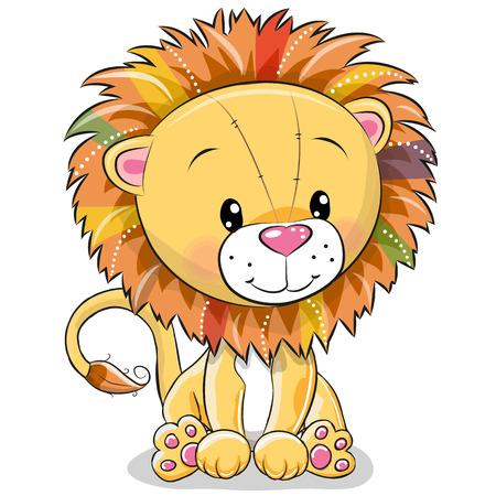 Illustration pour Cute Cartoon lion isolated on a white background - image libre de droit