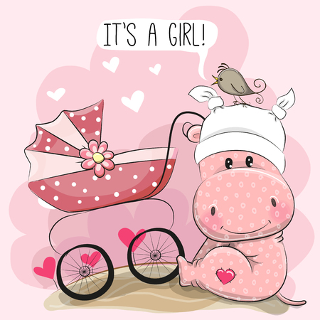 Illustration for Greeting card it is a girl with baby carriage and hippo, vector illustration. - Royalty Free Image