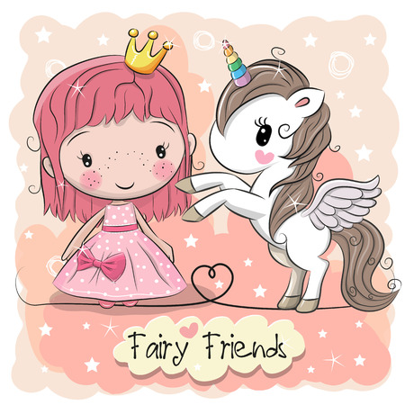 Ilustración de Greeting card with cute cartoon fairy tale princess and unicorn. - Imagen libre de derechos