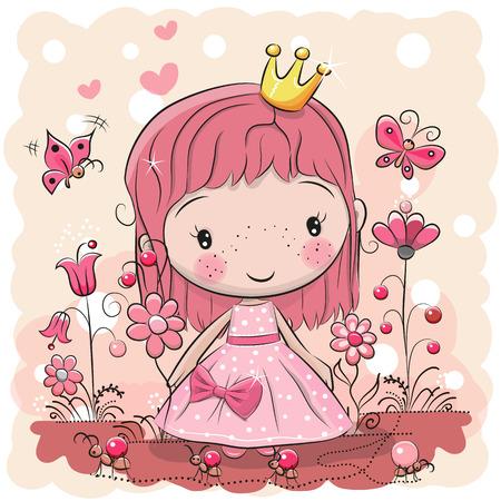 Ilustración de Greeting card with cute cartoon fairy tale princess, vector illustration. - Imagen libre de derechos