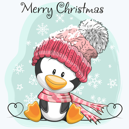 Illustration for Greeting card Cute Cartoon Penguin in a hat and scarf - Royalty Free Image