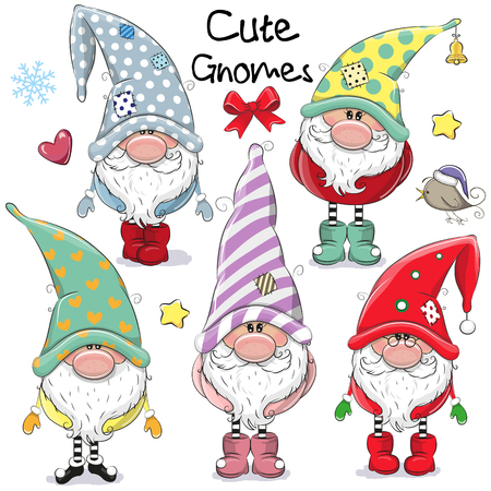 Illustration pour Set of Cute Cartoon Gnomes isolated on a white background - image libre de droit