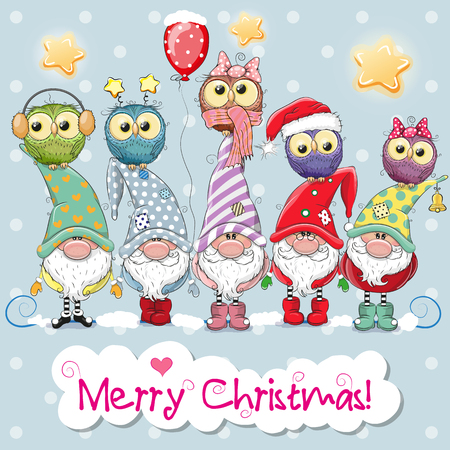 Illustrazione per Greeting Christmas card with Five Gnomes and five owls - Immagini Royalty Free