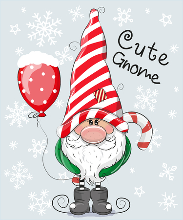 Illustration for Greeting Christmas card Cute Cartoon Gnome on a blue background - Royalty Free Image