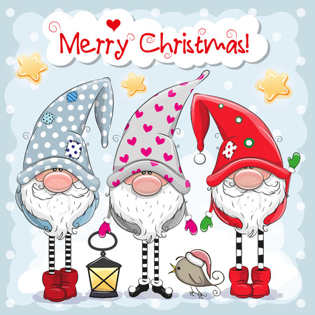 Illustrazione per Greeting Christmas card with Three cute Gnomes on a blue background - Immagini Royalty Free