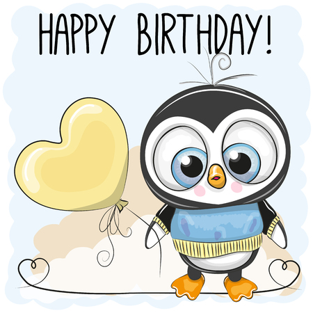 Illustration pour Cute cartoon penguin boy with a balloon - image libre de droit