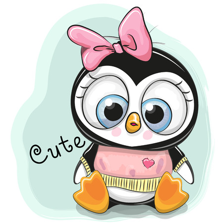 Illustration pour Cute Cartoon Penguin Girl on a blue background - image libre de droit