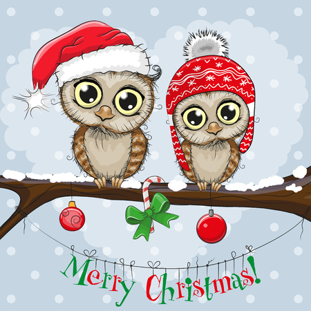 Ilustración de Greeting Christmas card Two Owls on a branch - Imagen libre de derechos