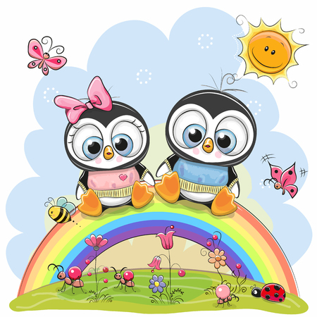 Illustration pour Two Cute Cartoon Chickens are sitting on the rainbow - image libre de droit