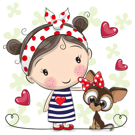 Illustration pour Cute Cartoon Puppy and a Girl in a striped dress - image libre de droit