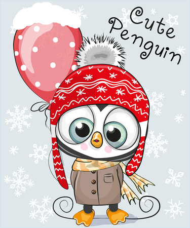 Illustration pour Cute Cartoon Penguin in a hat and coat with a balloon - image libre de droit