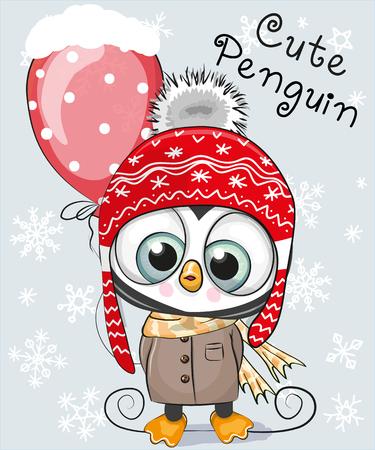 Foto de Cute Cartoon Penguin in a hat and coat with a balloon - Imagen libre de derechos