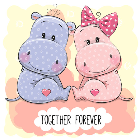 Illustration for Valentines card with Cute Cartoon Hippos boy and girl - Royalty Free Image