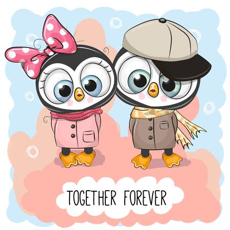 Illustration pour Valentines card with Cute Cartoon Penguins boy and girl - image libre de droit