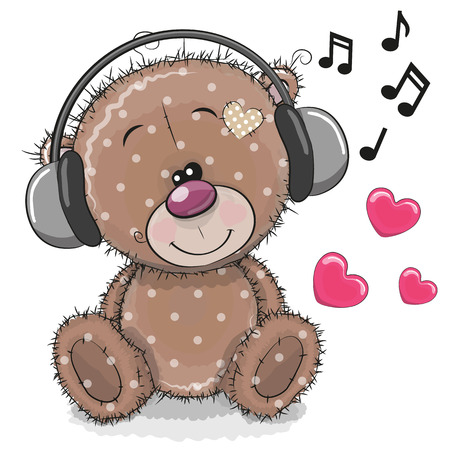 Ilustración de Cute cartoon Teddy Bear with headphones on a white background - Imagen libre de derechos