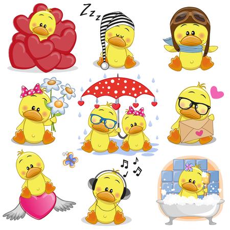 Ilustración de Set of Cute Cartoon Ducks on a white background. - Imagen libre de derechos