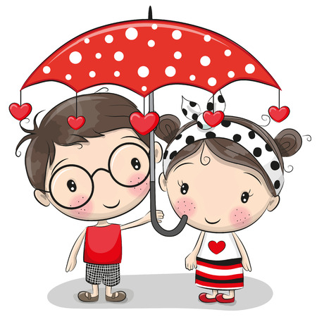 Illustration pour Cute cartoon boy and girl with red umbrella. - image libre de droit