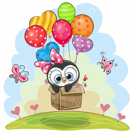 Illustration for Cute cartoon penguin in the box is flying on balloons. - Royalty Free Image
