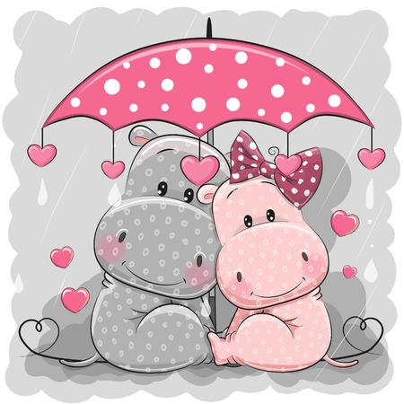 Ilustración de Two cute cartoon hippos with umbrella under the rain. - Imagen libre de derechos