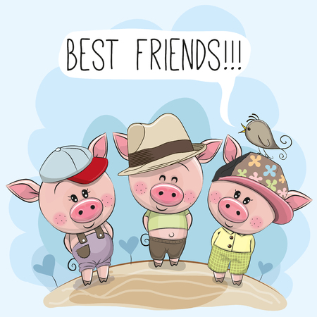 Illustrazione per Three friends cute cartoon pigs and a bird  - Immagini Royalty Free