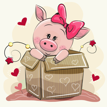 Illustration pour Birthday card with a Cute Cartoon Piggy girl and a box - image libre de droit