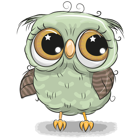 Illustration pour Cute cartoon green owl boy isolated on a white background - image libre de droit