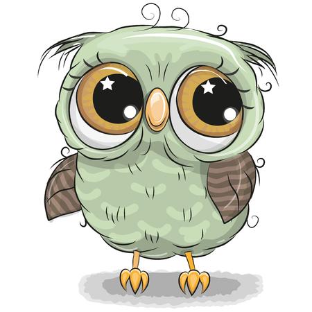 Ilustración de Cute cartoon green owl boy isolated on a white background - Imagen libre de derechos