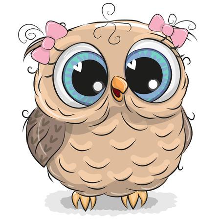 Ilustración de Cute cartoon owl girl isolated on a white background - Imagen libre de derechos