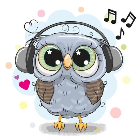 Ilustración de Cute cartoon Owl with big eyes with headphones - Imagen libre de derechos