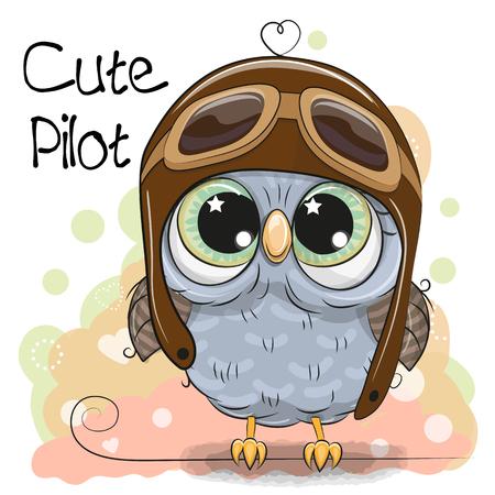 Ilustración de Cute cartoon Owl in a pilot hat - Imagen libre de derechos