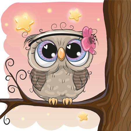 Ilustración de Cute Cartoon Owl with flower on a branch - Imagen libre de derechos