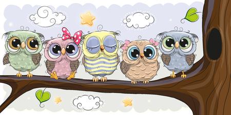 Ilustración de Five Cute Owls is sitting on a branch - Imagen libre de derechos