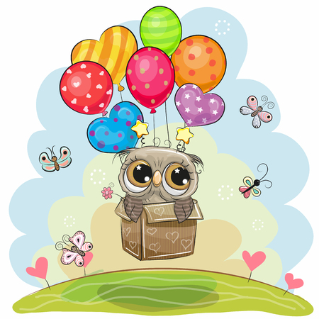 Illustration pour Cute flying cartoon Owl in the box with balloons - image libre de droit