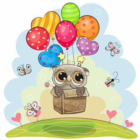 Ilustración de Cute flying cartoon Owl in the box with balloons - Imagen libre de derechos